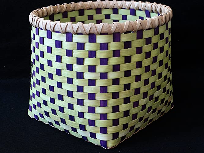 amazon com hand woven basket in chartreuse lime green and purple