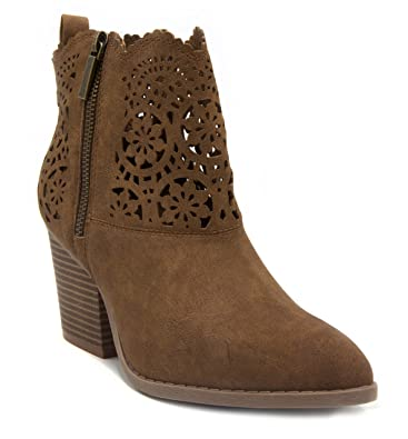 Womens Ubley Cut Out Design Heeled Ankle Booties