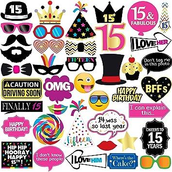 Accesorios para fotos de 15 cumpleaños: Amazon.es: Juguetes ...