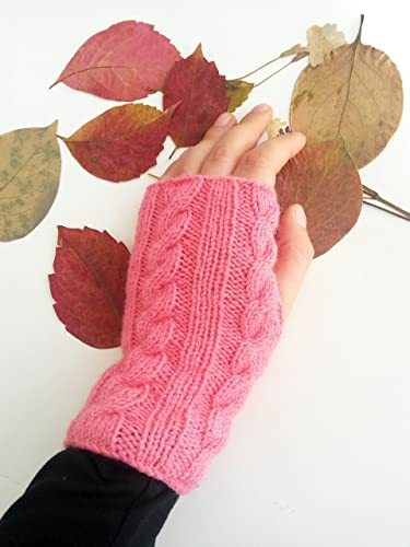 Amazon.com: Pink cable knit gloves - Pink gloves Fingerless gloves ...