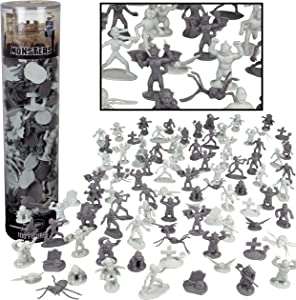 SCS Direct Monster Action Figure Bucket - Big Bucket of 100 Horror Toy Figures - from Dracula to Frankenstein to Giant Spiders- Perfect for Roleplaying, D&D Gaming, Magic The Gathering and More!