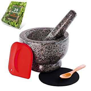 Granite Mortar and Pestle Set - Molcajete - Guacamole Bowl With Polished Exterior, Stylish Grey Grinder And Crusher - WITH Silicone Mat & Scraper
