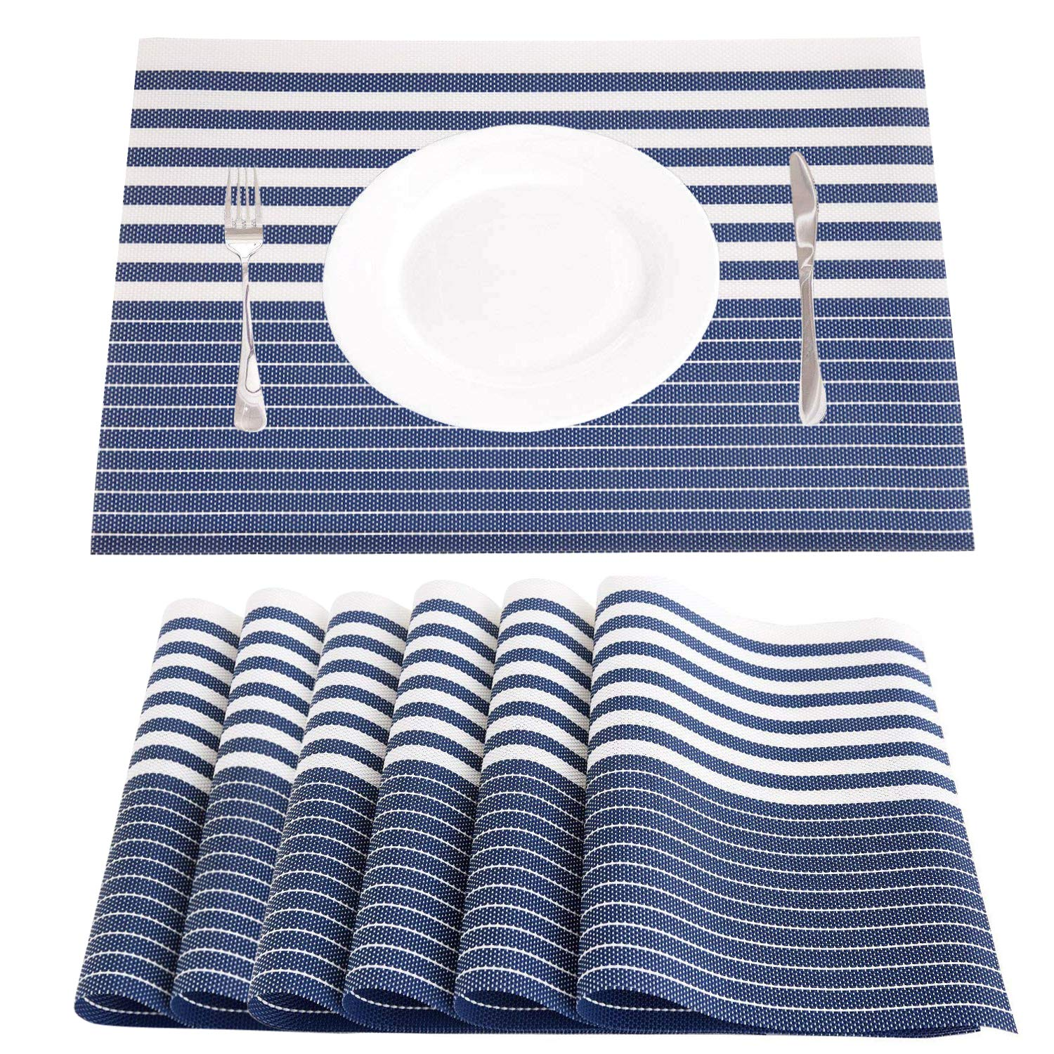 NJCharms Placemats Set of 6, Heat Resistant Washable Nautical Blue Placemats for Dining Kitchen Table Environmental PVC Wipeable Crossweave Vinyl Woven Placemats Table Mats Easy to Clean, Navy Blue