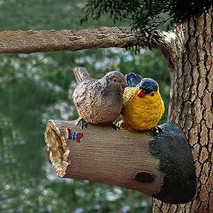 TIED RIBBONS Birds Statue Figurine Sculpture on Tree -Garden Bird Statue - Funny Sculpture Ornaments Décor - Best Indoor Outdoor Statues Yard Art Figurines for Patio Lawn House