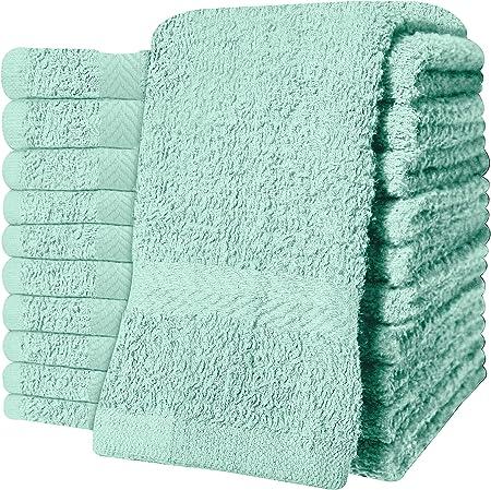 Deluxe - Juego de 12 toallas de cara, 100% algodón, 30 x 30 cm, algodón, Mint, 12.00