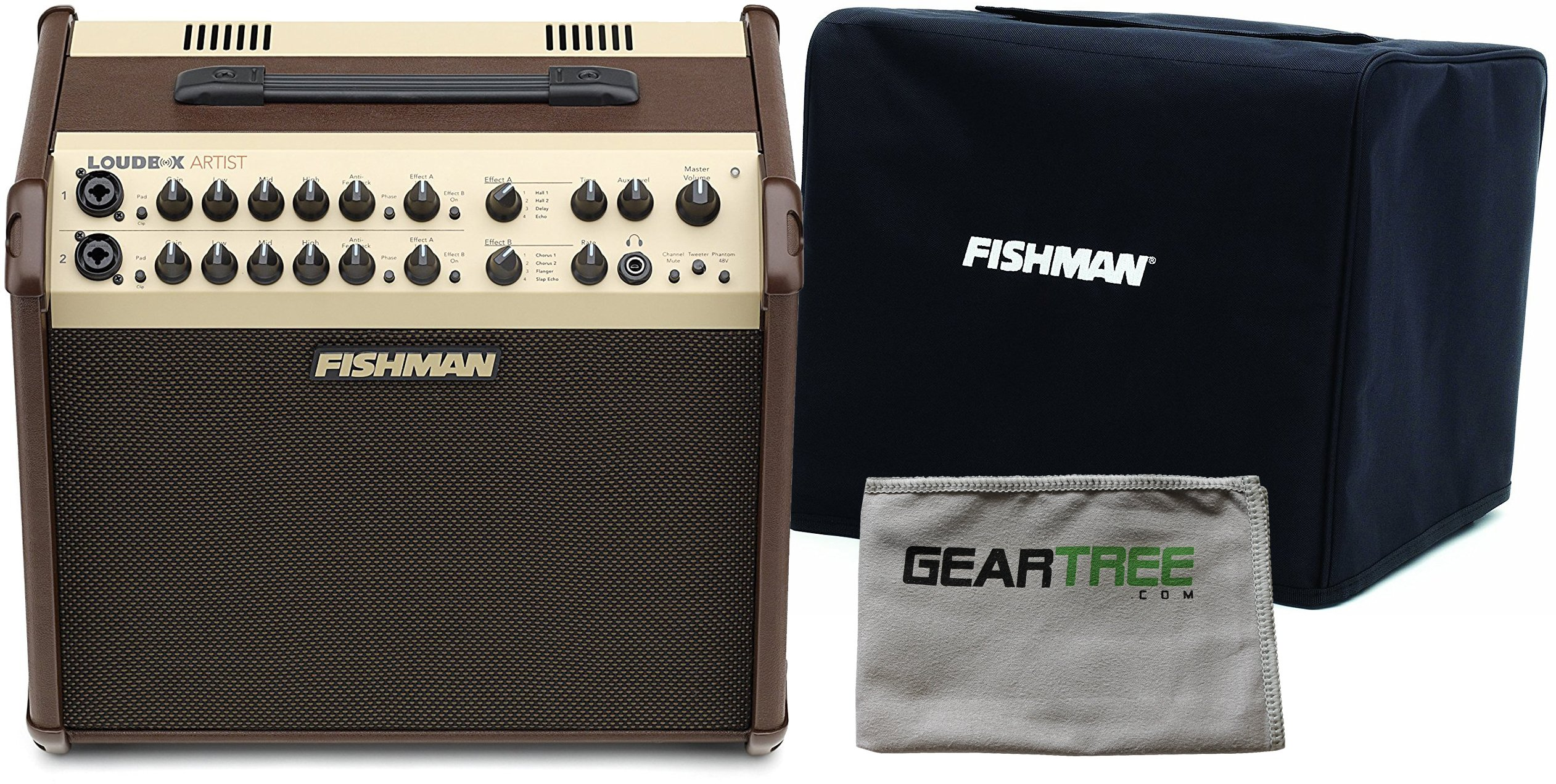 Fishman PRO-LBX-600 Loudbox Artist Acoustic Guitar Amp w/ Geartree Cloth and Slip Cover