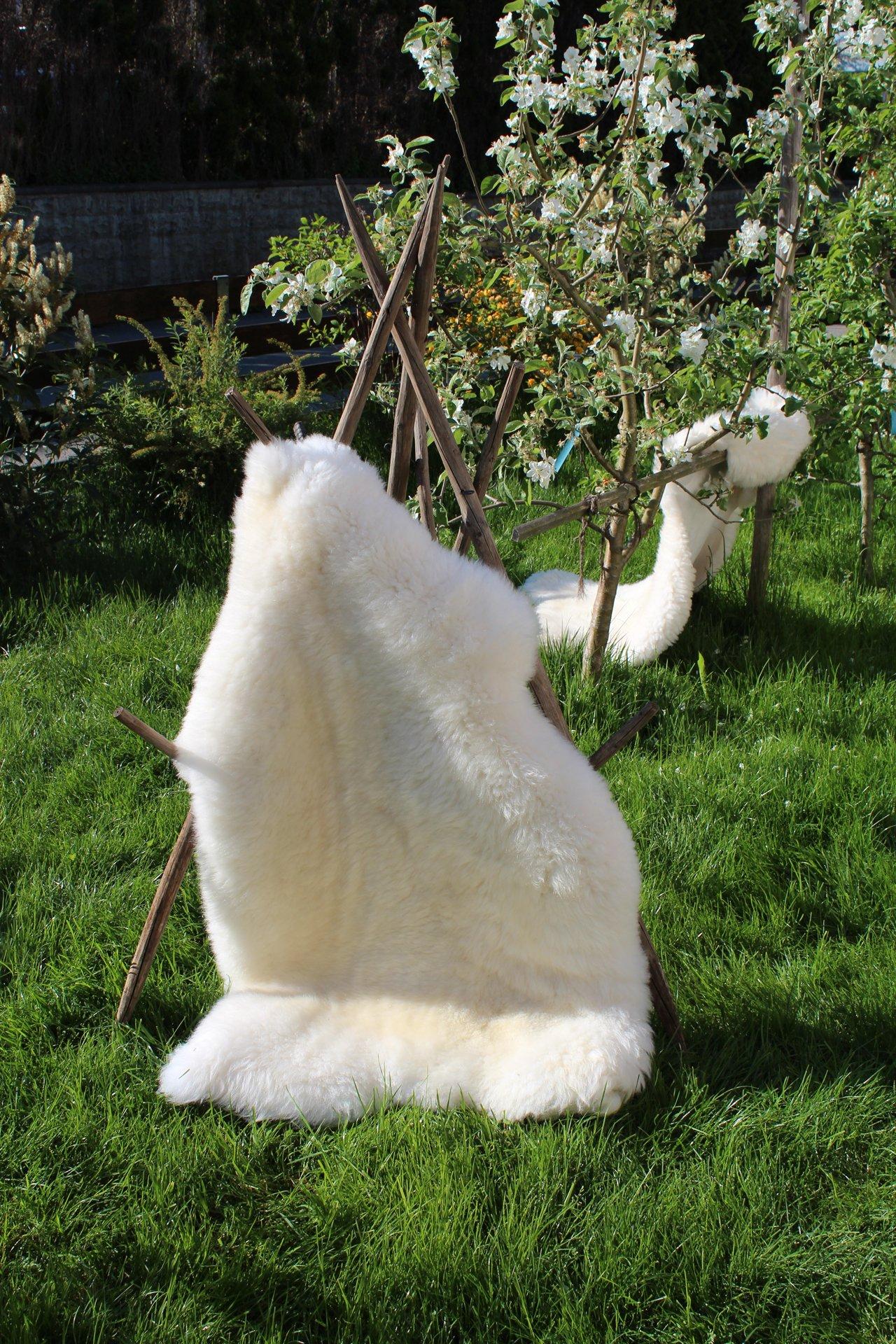 Schaffell Premium-Qualität Lammfell 120-130cm Weiß ökologische Gerbung