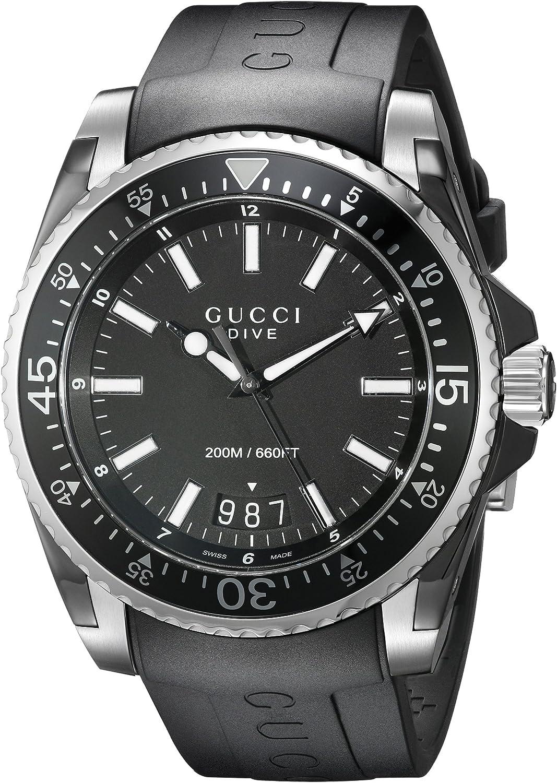 Gucci Gucci Dive Analog-Display Swiss Quartz Black Men's Watch(Model:YA136204)