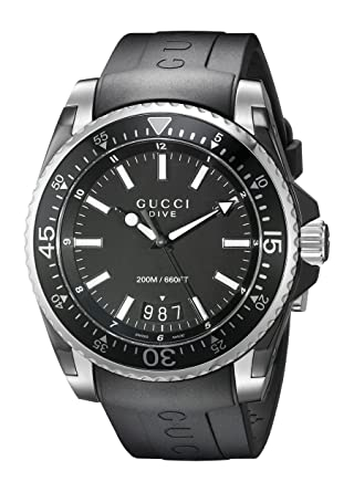 d9b02573293 Gucci Gucci Dive Analog-Display Swiss Quartz Black Men s Watch (Model YA136204)