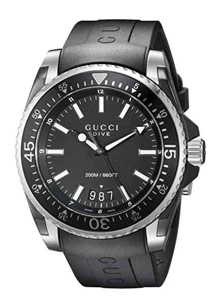 54872dac058 Amazon.com  Gucci Gucci Dive Analog-Display Swiss Quartz Black Men s Watch(Model YA136204)   Watches