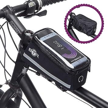 BTR Bolsa de Bici Funda para el móvil Deluxe – Bolsa para el Cuadro de la Bici Impermeable Protege Todos Sus Objetos de Valor de la Lluvia – Se Adapta ...