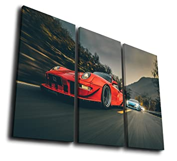 HQ Art 3 Pcs RWB Porsche 911 Turbo Racing Car Canvas Prints Paintings on Giclee Canvas