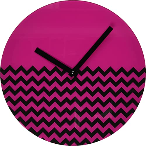 Refelx Non-Ticking Silent Acrylic Wall Clock, Large, Chevron, Pink