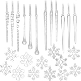 Youseexmas Icicles Glass Snowflake Christmas Ornaments pack of 24 (12pcs icicles 12pcs snowflakes)