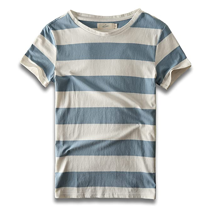 f24f502624e2 Zecmos Mens Stripes T-Shirts Casual Slim Fit Tshirts Striped Tees Top  279-Blue