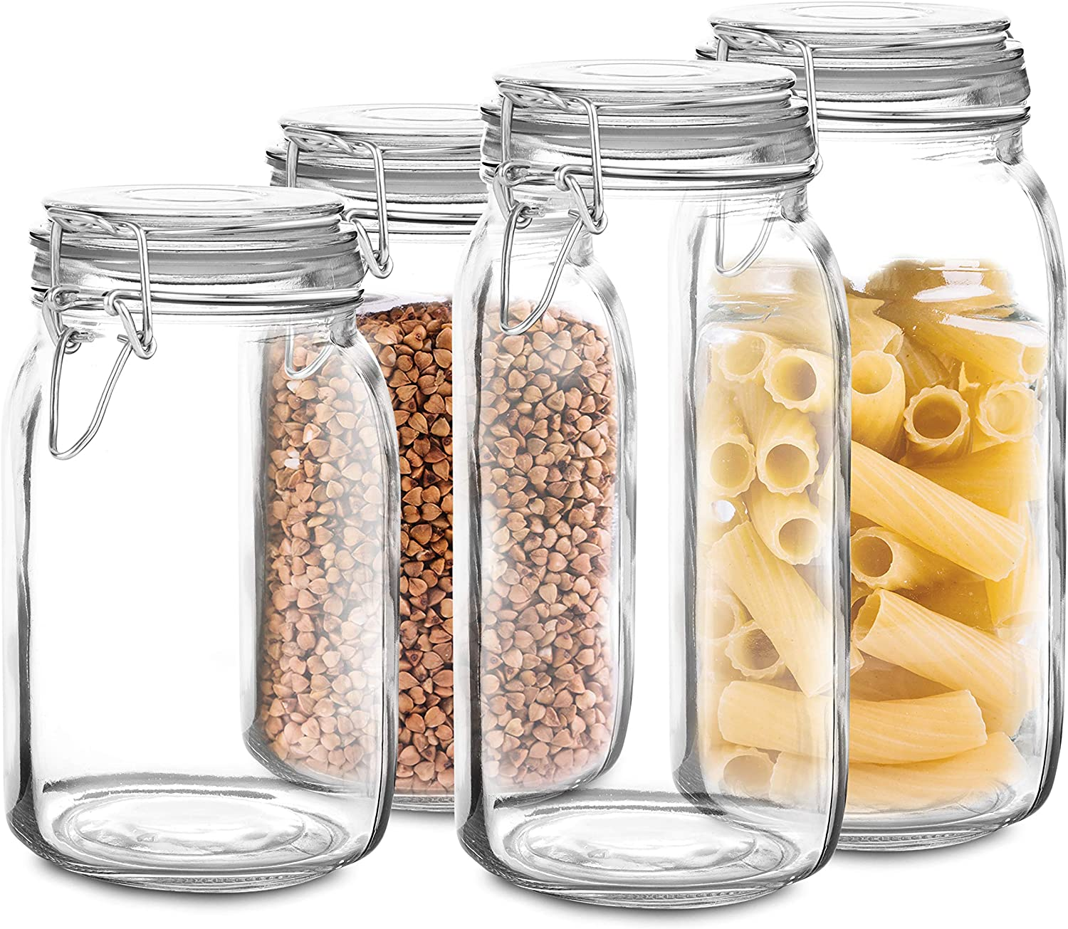 Set of 4 Glass mason Jar with Lid 2 Jars 34 Oz, 2 Jars 48 Oz | Airtight Glass Storage Container for Food, Flour, Pasta, Coffee, Candy, Dog Treats, Snacks & More | Glass Organization Canisters