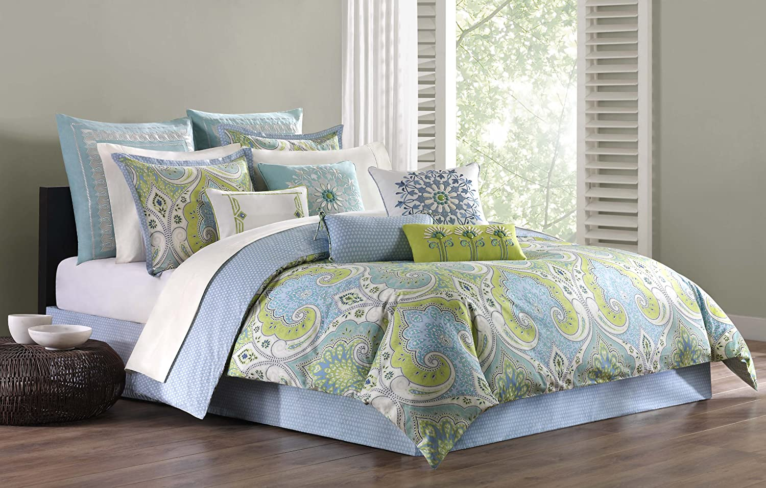 Echo Design Sardinia Duvet Cover King Size - Teal Green , Paisley Duvet Cover Set – 3 Piece – 100% Cotton Light Weight Bed Comforter Covers