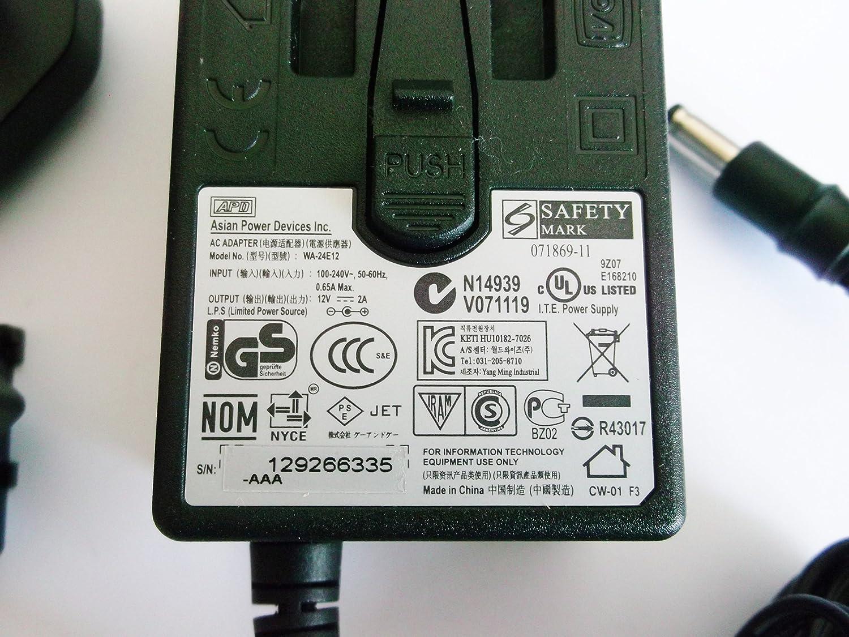 Prise fran/çaise MyVolts Chargeur//Alimentation 12V Compatible avec Western Digital WA-24E12FG Transfo Adaptateur Secteur