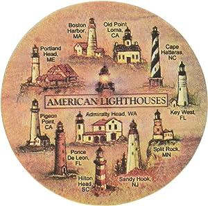 Thirstystone Stoneware Lighthouses Coaster, Multicolor