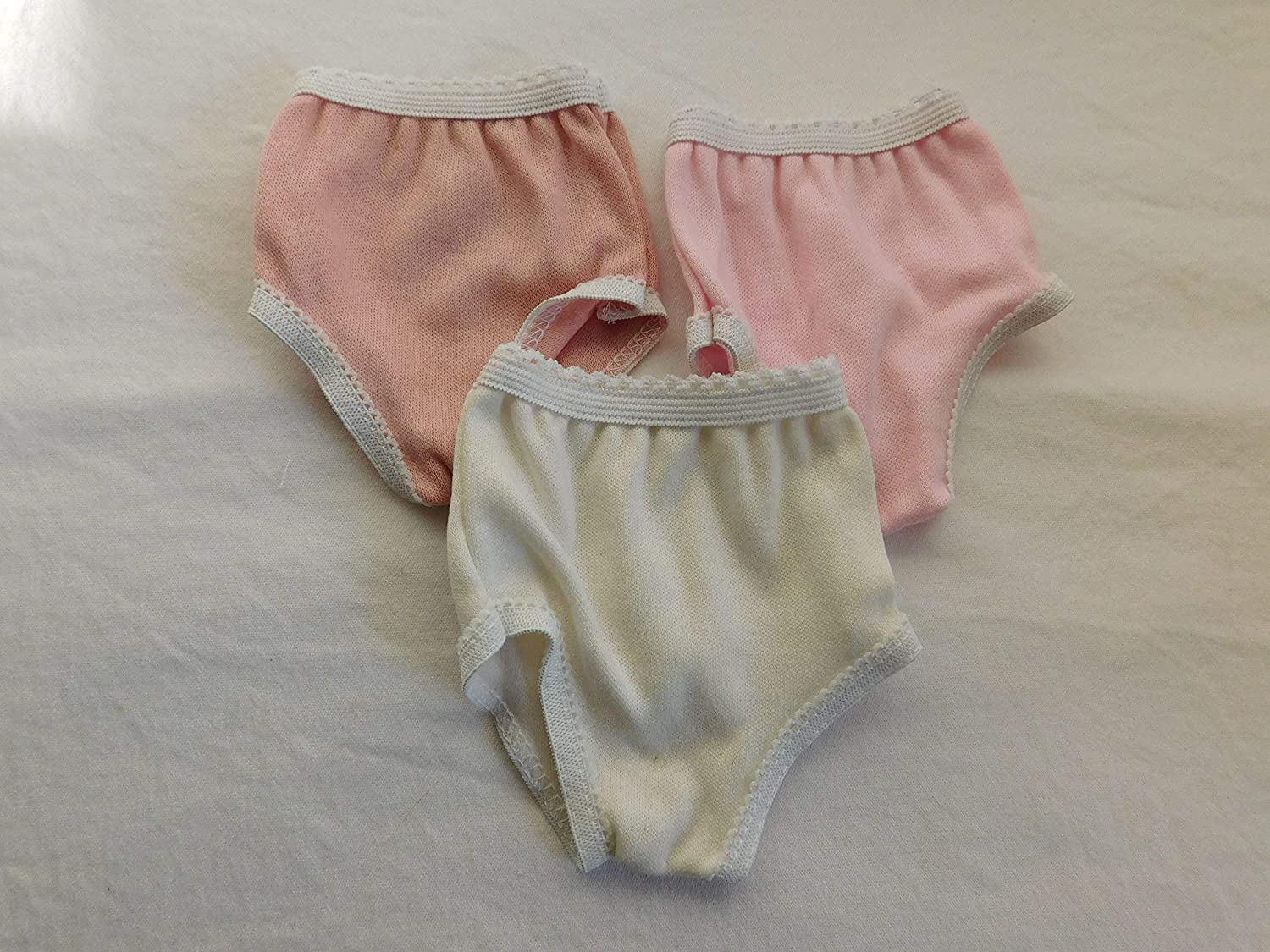 Panties for 18 inch dolls like American Girl pink Underwear off white peach