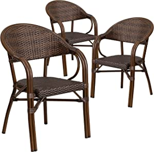Flash Furniture 3 Pack Milano Series Bark Brown Rattan Restaurant Patio Chair with Bamboo-Aluminum Frame