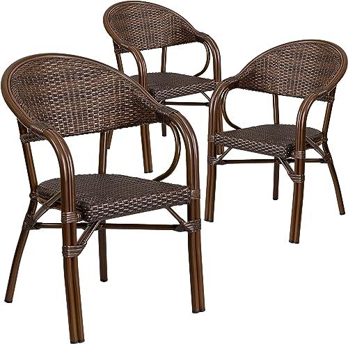 Flash Furniture 3 Pk. Milano Series Bark Brown Rattan Restaurant Patio Chair with Bamboo-Aluminum Frame