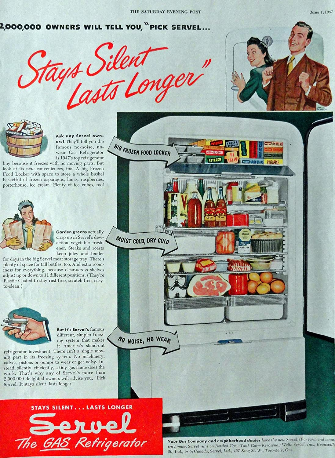 "Servel Gas Refrigerator, 40's Print Advertisment. Color Illustration, 10 1/2"" X 13 1/2"" Print Art. (stay's silent lasts longer) Original Vintage 1947 the Saturday Evening Post Magazine Historic Art ***Store Link [www.amazon.com/shops/ads-thru-time]"