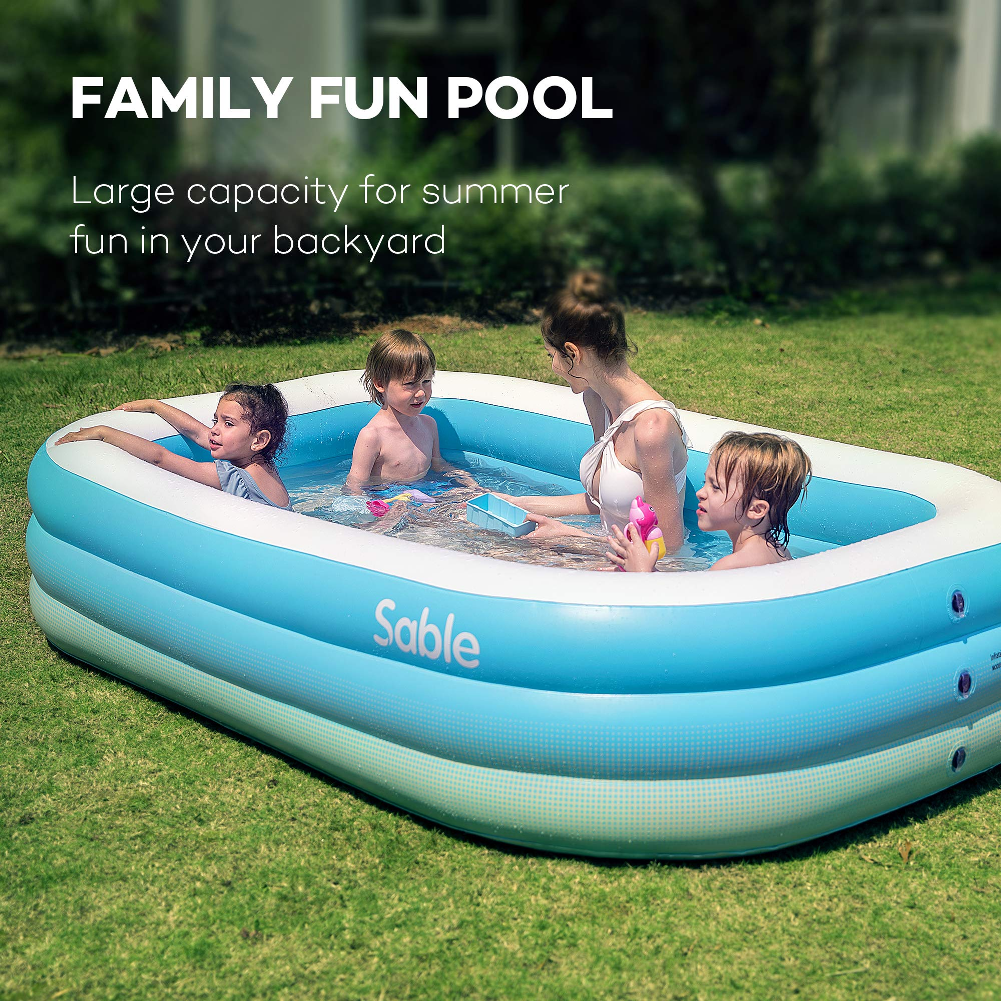 Sable Inflatable Pool, Family Swim Center Pool for Kids, Adults, Backyard, Outdoor, 92'' X 56'' X 20'', for Ages 3+ by Sable (Image #1)