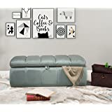 Iconic Home Chagit Bench Velvet Tufted Storage Ottoman, Modern Transitional, Grey