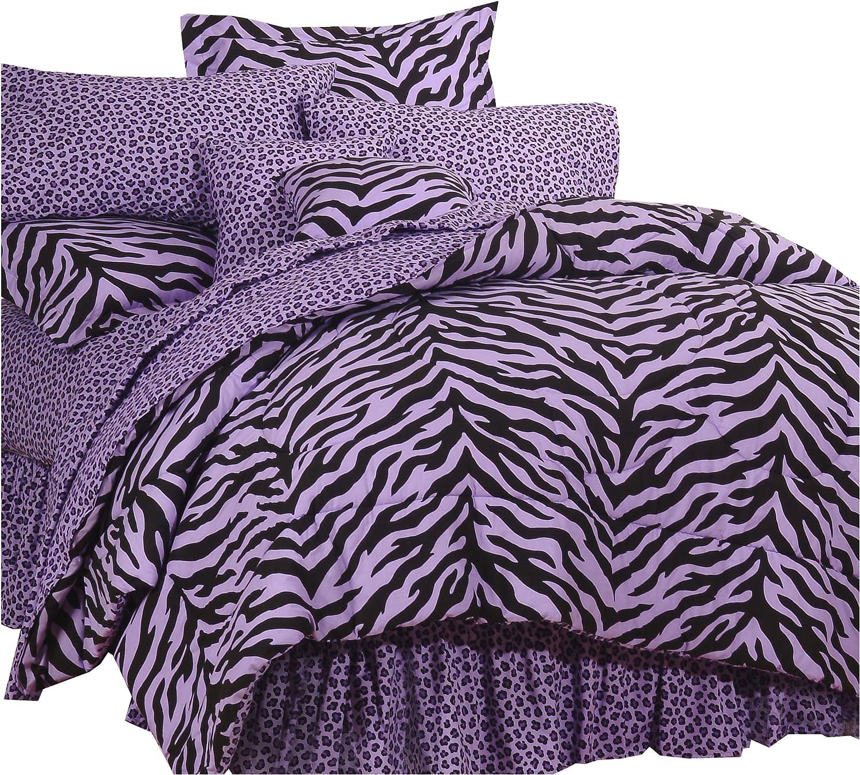 Karin Maki Zebra Comforter/Sham Set, Twin/X-Large Twin, Lavender
