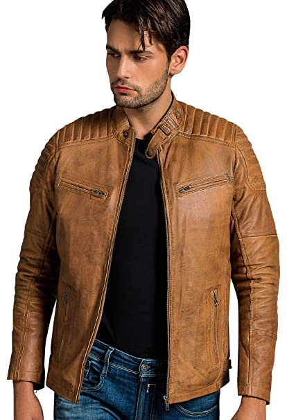 Urban Leather Ralph Chaqueta de Caballero, Tan: Amazon.es ...