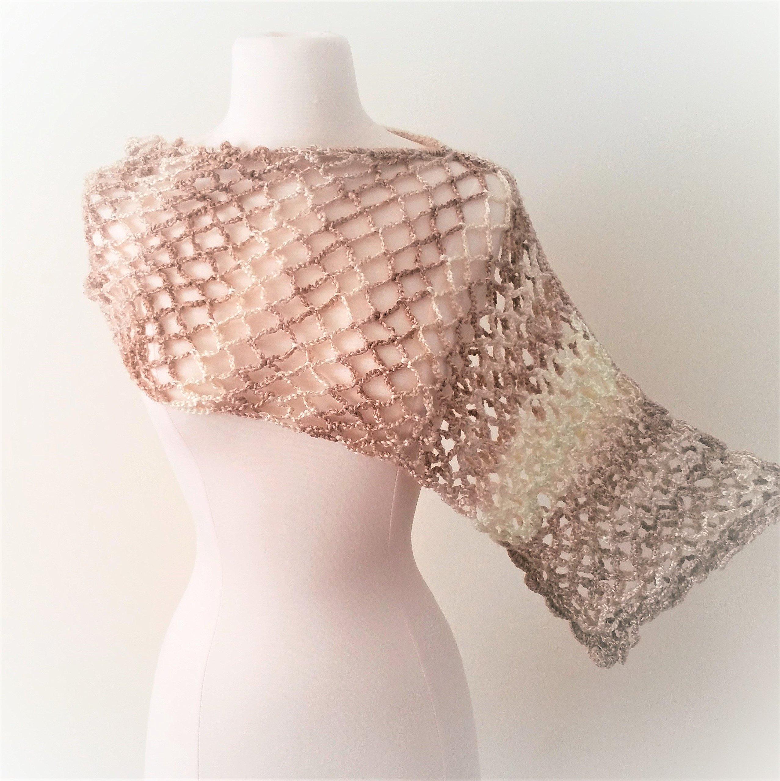 Crochet Asymmetrical Poncho - cappuccino