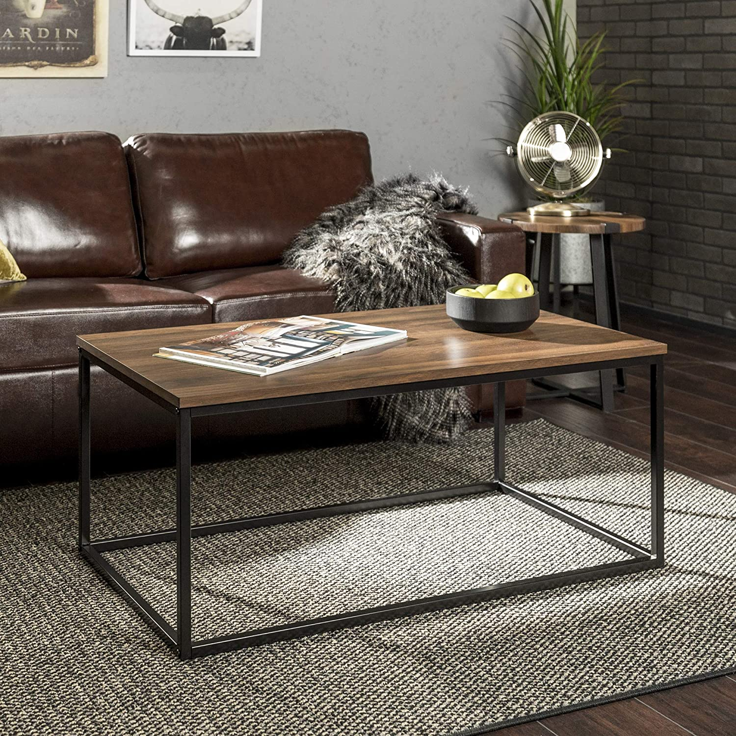Walker Edison Furniture Modern Wood Open Rectangle Coffee Accent Table Living Room, 42 Inch, Walnut Brown