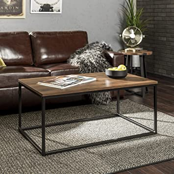 WE Furniture Modern Wood Open Rectangle Coffee Accent Table Living Room, 42  Inch, Walnut Brown