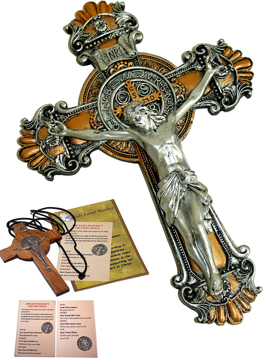 Holy Land Market Colored Two Tones Wall St. Benedict Cross/Crucifix Set (10 Inch and 3 Inches)