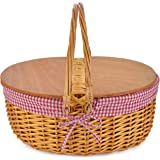 Wicker Picnic Basket with Double Folding Handles | Little Red Riding Hood Basket for Kids | Hard Wood Top | Hand Woven Wicker Great for Easter Basket | Storage of Plastic Easter Eggs Gingham Basket