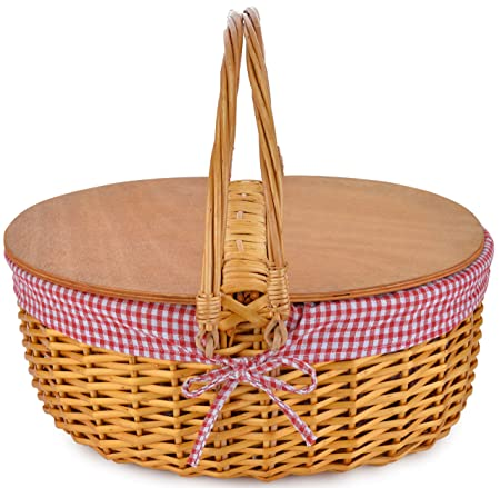 Wicker Picnic Baskets with Double Folding Handles Little Red Riding Hood Basket for Kids Hard Wood Top Hand Woven Wicker Great for Easter Basket Storage of Plastic Easter Eggs Gingham Basket