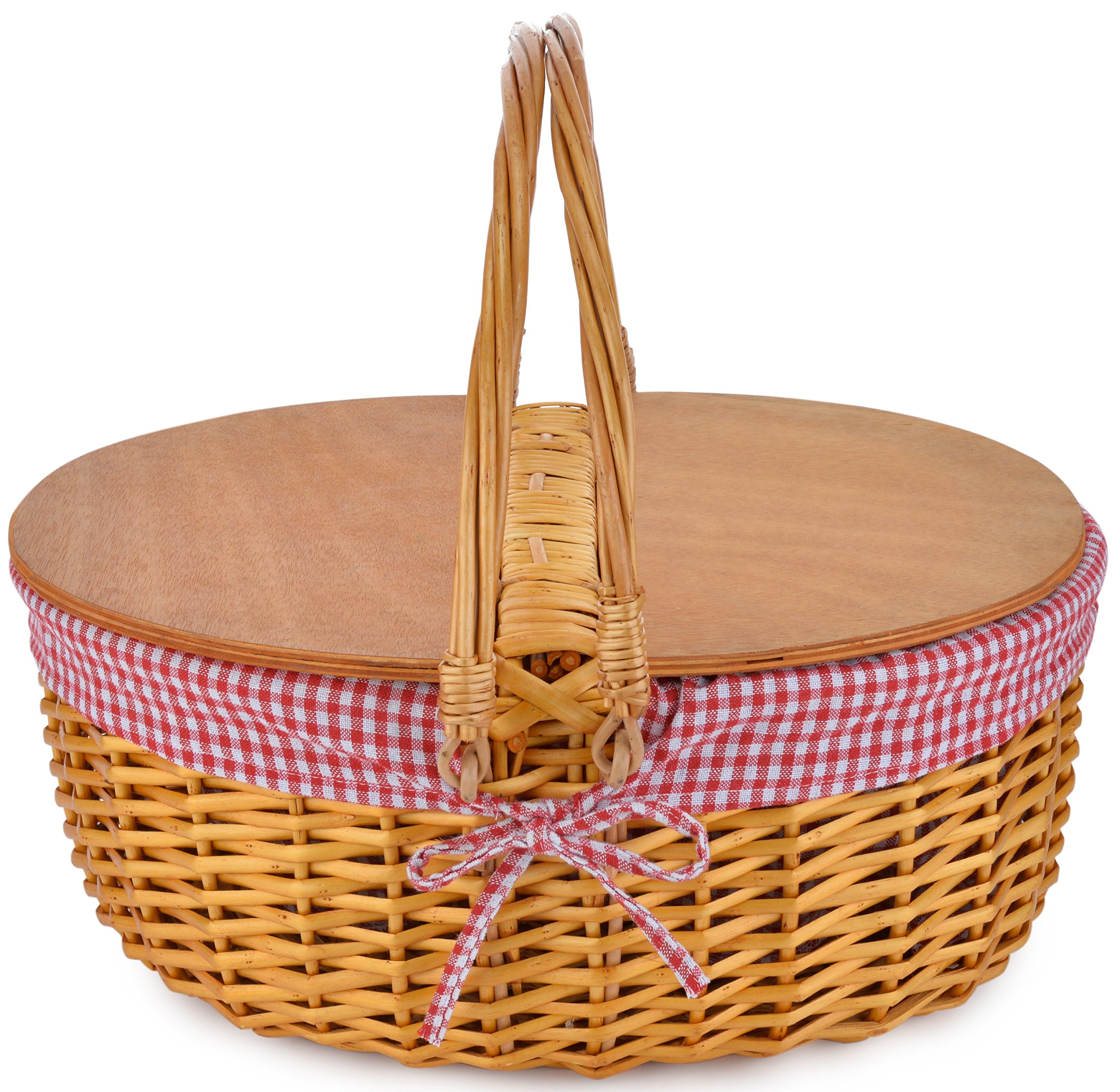 Picnic Basket with Double Folding Handles | Hard Wood Top | Hand Woven Wicker Great for Easter Basket | Storage of Plastic Easter Eggs and Easter Candy | Organizer Blanket Storage