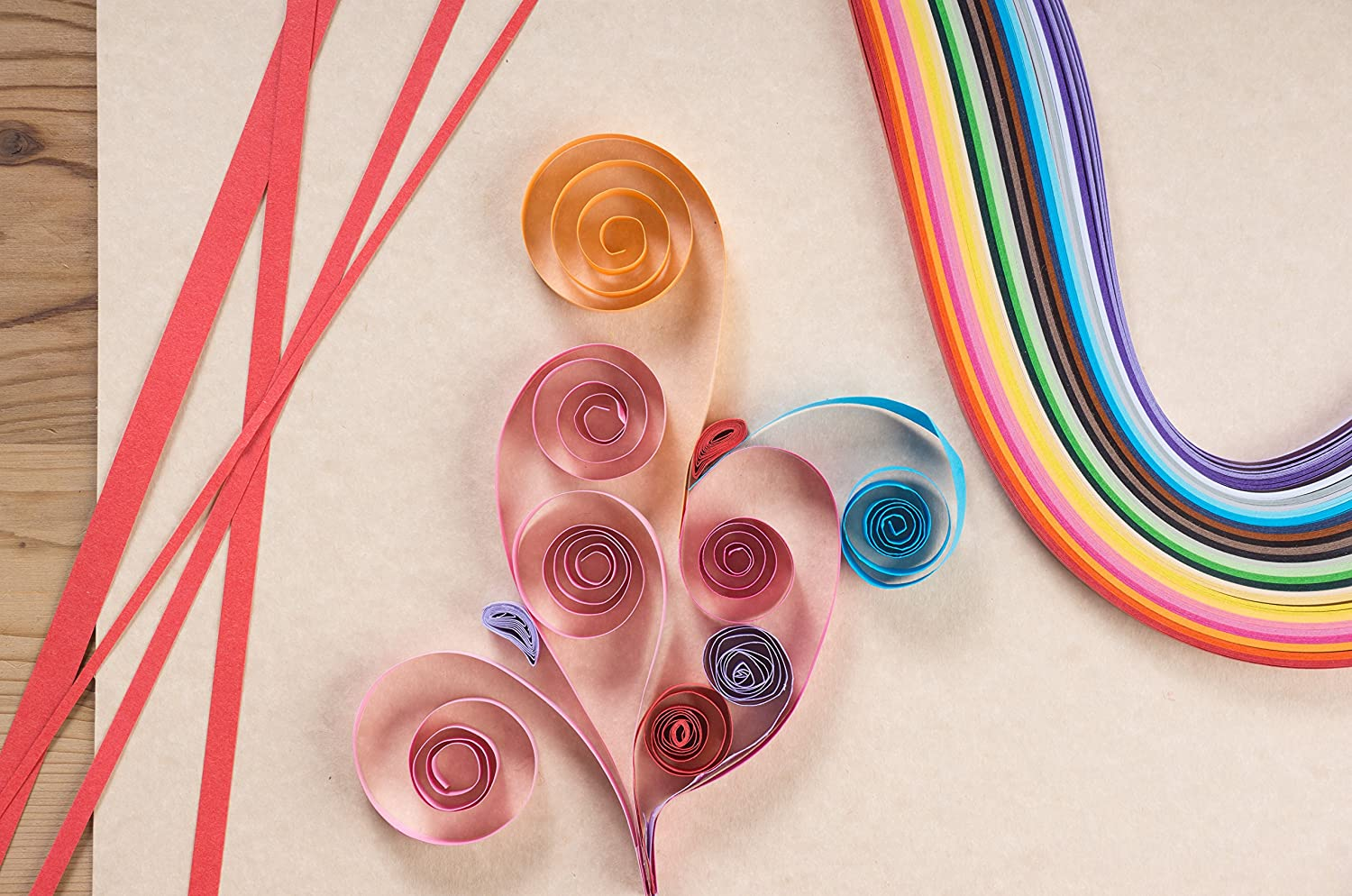 1080-Count 9-Pack 45-Color 5mm Quilling Paper Strips Quilling Paper Bulk Quilling Paper Set 20.8 Inches Long