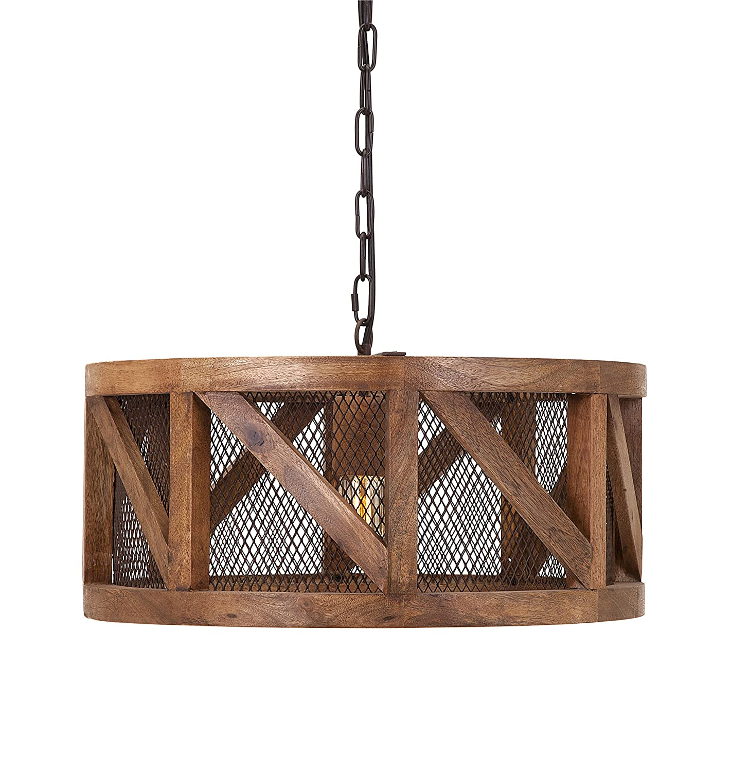 Amazon IMAX Kennedy Wood and Wire Pendant Light 20 x
