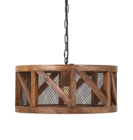 Amazon Com Imax 73368 Kennedy Wood And Wire Pendant Light Wooden