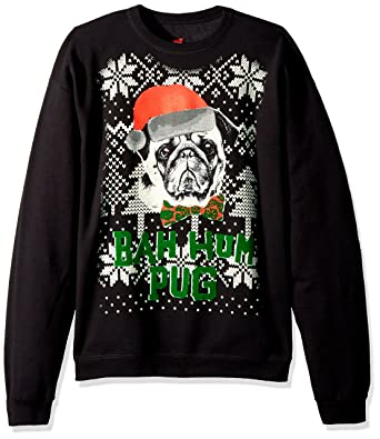 hanes mens ugly christmas sweatshirtblackbah hum pugsmall - Ugly Christmas Sweatshirts