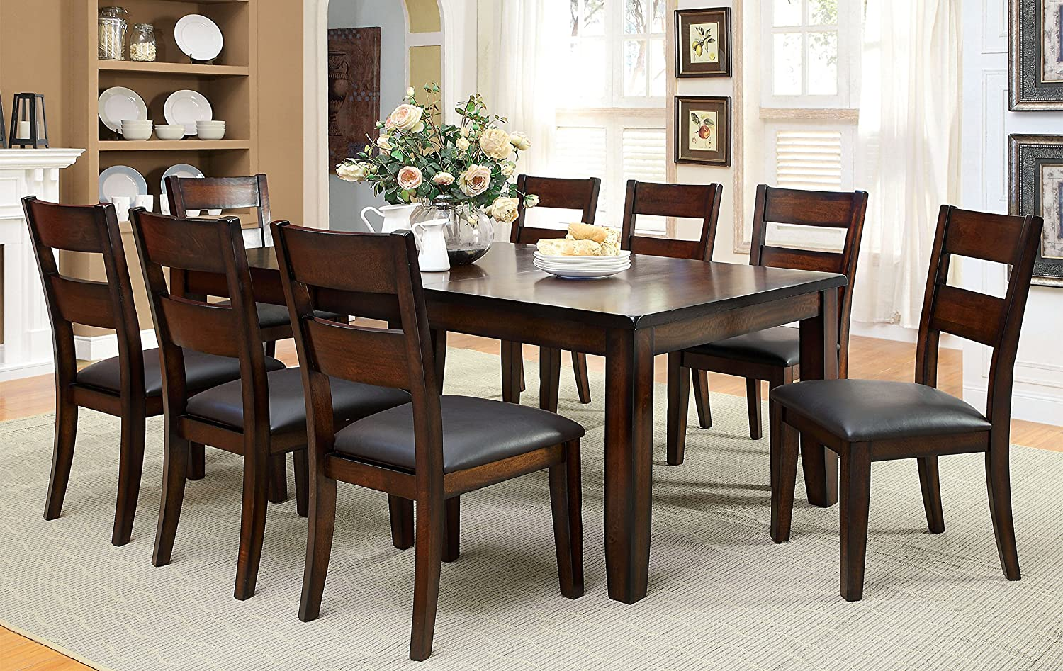 Dark Wood Dining Room Chairs bm deep silver dining room with dark wood floors beautiful patterned rug and blue chairs and dark wood table benjamin moore deep silver Amazoncom Furniture Of America Dallas 9 Piece Transitional Dining Set Dark Cherry Table Chair Sets