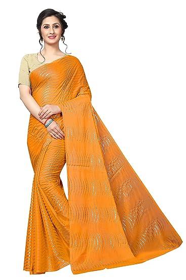 8f065f81ca8e5 Maruti Creationwomen s foil print rangoli lehariya style with blouse piece  (Multi-Color Free Size) FOIL BINDI YELLOW  Amazon.in  Clothing   Accessories