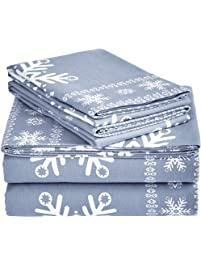 Pinzon Cotton Flannel Bed Sheet Set - Queen, Snowflake Dusty Blue