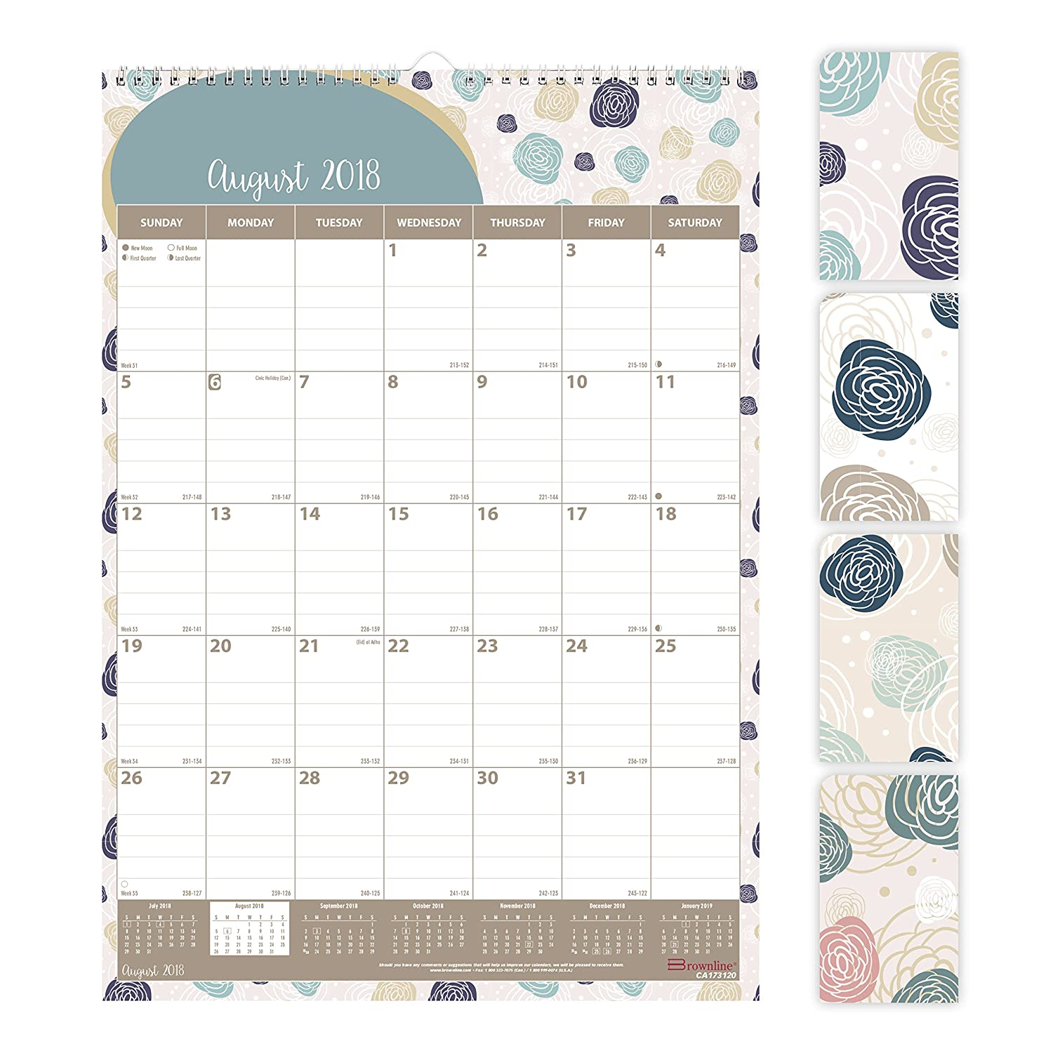 Brownline 2018-2019 Monthly Academic Colorful Wall Calendar with Begonia Design, 12 x 17, August 2018 to July 2019 (CA173120-19) REDIFORM OFFICE PRODUCTS