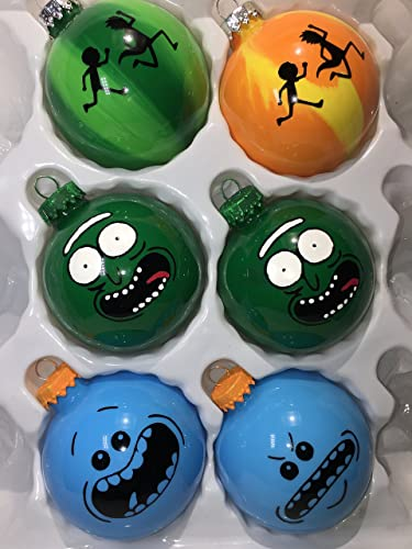 hand crafted rick and morty christmas ornament set of 6 glass ball ornaments