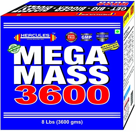 HERCULES 8 lbs Mega Mass 3600 in Banana Flavours: Amazon in