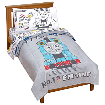 Jay Franco Nickelodeon Thomas & Friends Thomas Doddle Days 4 Piece Toddler Bed Set - Includes Reversible Comforter & Sheet Set - Super Soft Fade Resistant Microfiber - (Official Nickelodeon Product): Home & Kitchen