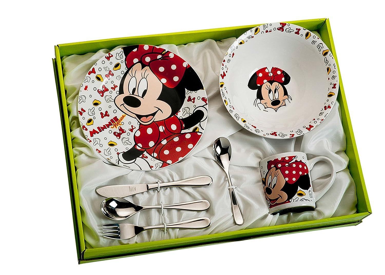 Kinder Besteck und Geschirr Set Minie Mouse - Sieben Teile.